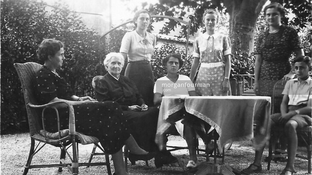 Pamela Downing with Rastit family (l-r): Madame, Grandmere, Marthe, Simone, Pam, Colette, Robert, Château Gombert, Marseille, Sep 1938