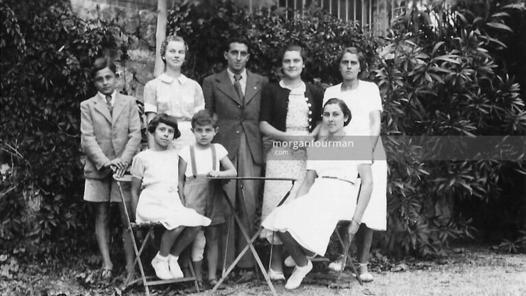 Pamela Downing with Rastit family (l-r): Robert, Jeanine, Pam, Paul, ?, Colette, Marthe, Simone, Château Gombert, Marseille, Sep 1938
