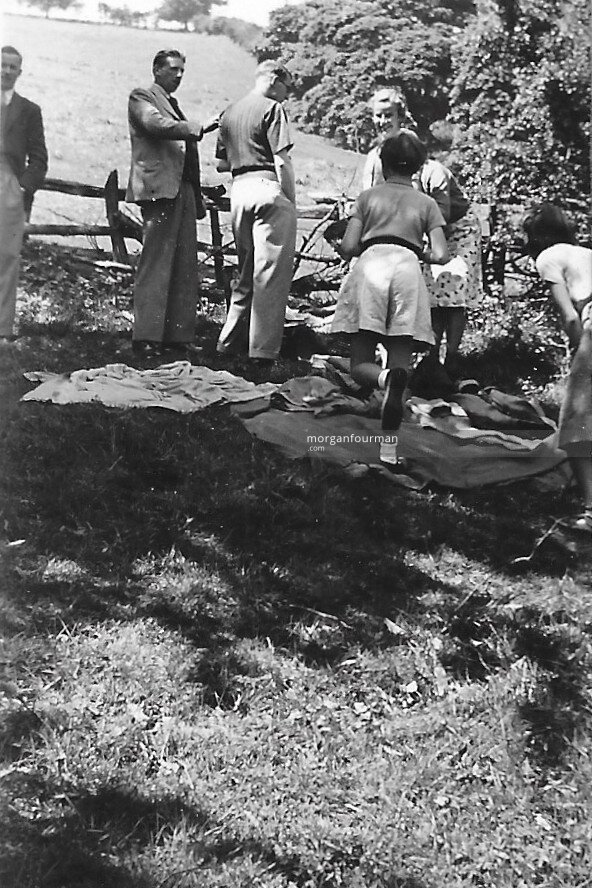 Picnic, 29 May 1939: Mac, Hugh Showell, Glynn Williams, Pam, Jill and Hazel (Frances Best hidden)