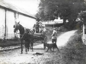 Shooting at Ratlinghope, c. 1916; WED, pony and trap